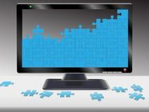 计算机hdtv曲线锯的监控程序难题 免版税图库摄影