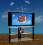 HDTV Football in Fall Sky. Illustration of a bright picture of American Football pass or kick flies in a high Autumn sky on HDTV scene vector illustration