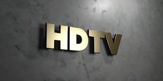 Hdtv - Gold sign mounted on glossy marble wall  - 3D rendered royalty free stock illustration Stock Photos