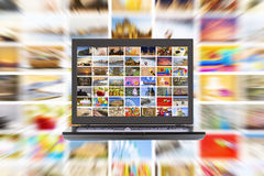 HDTV internet broadcast. HDTV internet media broadcast concept Stock Photos