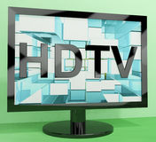 HDTV Monitor Representing High Definition. Television Or TVs stock illustration