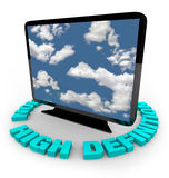 HDTV Television - High Definition. A widescreen HDTV on an angle with the words High Definition around it Stock Images
