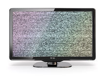 HDTV tv with noise screen. 3d Stock Images