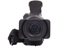 HDV camcorder 2. A front on shot of a HDV video camcorder isolated on a white background (clipping path Stock Image