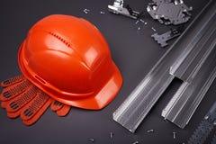 Hełm, rękawiczki i profilowa budowa, Obrazy Stock