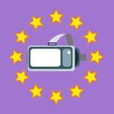 Hełm rzeczywistość wirtualna VR otaczająca gwiazdami na purpurowym tle Zdjęcia Royalty Free