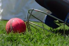 Hełma i krykieta piłka na zielonej trawie Makro- strzał krykiet equipments zdjęcie stock