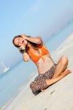 hełmofon plażowa kobieta Obraz Stock