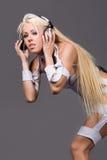 hełmofonu blond z podnieceniem model Obraz Royalty Free