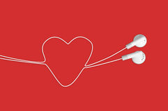 hełmofonu serce ja kocham muzykę Fotografia Stock