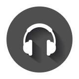 Hełmofonu wektoru ikona Słuchawki słuchawki znaka ilustracja na bla Zdjęcia Stock