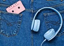 Hełmofony, audio kaseta obrazy stock
