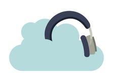 Hełmofony muzyczni z chmura odizolowywającym ikona projektem ilustracji