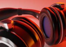 Hełmofony z chłodno oświetleniem z bliska Obraz Stock