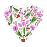 Heaart with Valentine`s Day theme doodle symbols and pink tulip flowers. Hand drawn and colored sketch elements. vector illustration