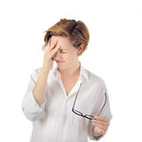 Headache Woman. Stress. Eyestrain Stock Photos