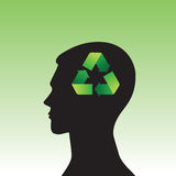 Head-01. Conceptual idea: the silhouette of the head symbol of ecology Royalty Free Stock Photos