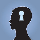 Head-02. The concept idea with the image of the head and a keyhole on a blue background Royalty Free Stock Image