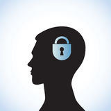Head-04. Conceptual idea: silhouette image of  head with a lock Royalty Free Stock Photography