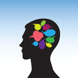 Head-07. Conceptual idea: silhouette image of the head with a picture of bubbles for speech Royalty Free Stock Photo