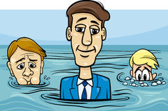Head above water saying cartoon Royalty Free Stock Images