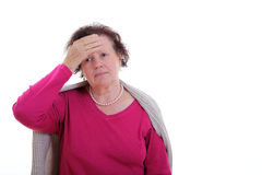 Head ache. Sick elderly woman. Head ache. Migraine Royalty Free Stock Photo