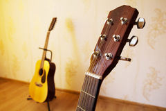 Head of acoustic six-string guitar Stock Photos