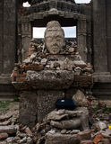 Head actors and ruins in the temple Royalty Free Stock Photo