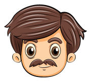 A head of an adult with a mustache Royalty Free Stock Photos