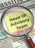 Head Of Advisory Team Join Our Team. 3D. Newspaper with Job Vacancy Head Of Advisory Team. Illustration of Small Ads of Job Search of Head Of Advisory Team in Royalty Free Stock Photo