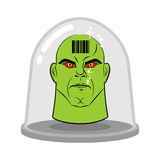 Head of alien in glass jar for experiments. Green humanoid with Royalty Free Stock Photography