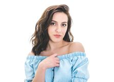 Free Head And Shoulders Shot Of Beautiful Young Woman, Isolated On White Background. Front View. Close Up Face Of Cute Girl Royalty Free Stock Images - 215007449