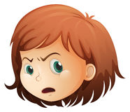 A head of an angry child. Illustration of a head of an angry child on a white background Royalty Free Stock Image