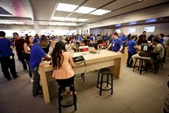 Head Apple store on Fifth Avenue in New York stock photos
