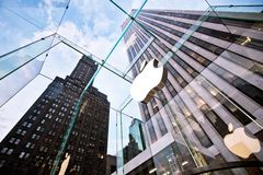 Head Apple store on Fifth Avenue in New York Stock Photography