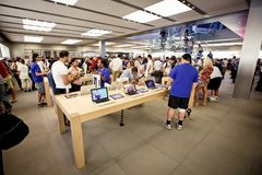 Head Apple store on Fifth Avenue in New York royalty free stock photo