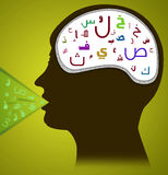 Head with Arabic Alphabet Stock Photo