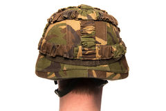 Head with army helmet Stock Images
