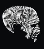 Head as fingerprint. On the black background Royalty Free Stock Images