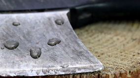 The head of an axe lying on the wood Stock Image