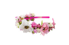 Head band decorated with flowers. Isolated over white Royalty Free Stock Photo