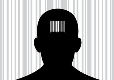 Head with barcode on its back. Stock Photo