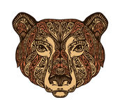 Head bear. Ethnic patterns. Hand drawn vector illustration with floral elements. Grizzly, animal symbol Stock Photos