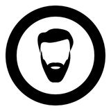 Head with beard and hair black icon in circle vector illustration isolated . Head with beard and hair black icon in circle vector illustration isolated flat Stock Images