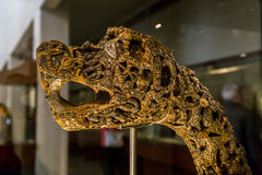 The head of the beast. OSLO, NORWAY - JULY 1, 2016: It is ancient carved decoration in the form of the head of the beast from Viking Ship Museum Stock Photography