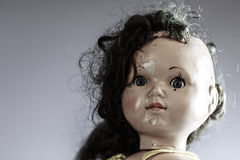 Head of beatiful scary doll like from horror movie Stock Image