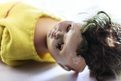 Head of beatiful scary doll like from horror movie Stock Photos