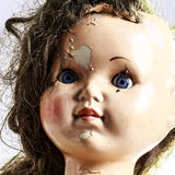 Head of beatiful scary doll like from horror movie Stock Photo