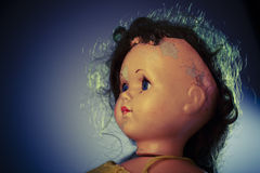 Head of beatiful scary doll like from horror movie Royalty Free Stock Photos
