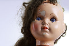 Head of beatiful scary doll like from horror movie Stock Photography